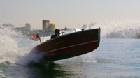 Mitch LaPointe in a 16 ft Special Race Boat Barrel Back