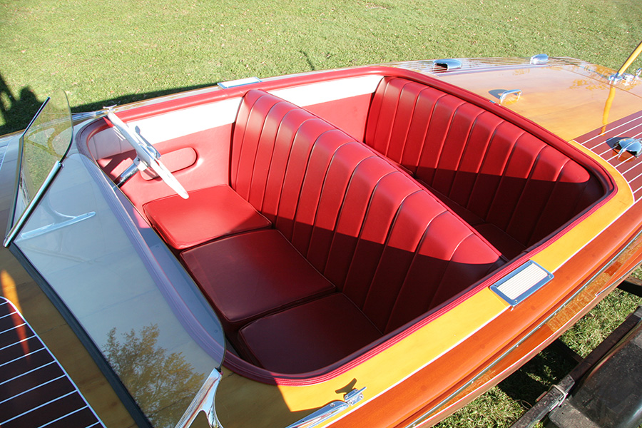 1950 Chris Craft Riviera red upholstery
