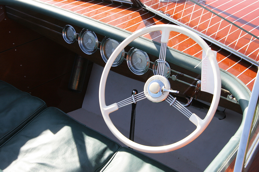 1941 19' Chris Craft Barrel Back Custom Runabout Dash Board and Steering Wheel
