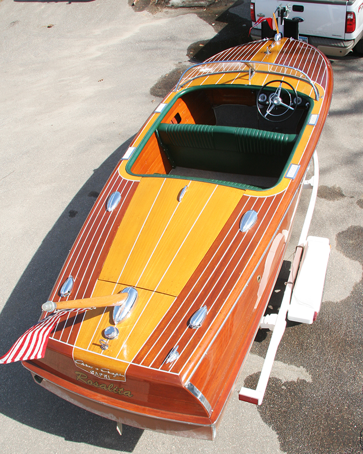 1956 19' Chris Craft Capri runabout - on trailer - rear view
