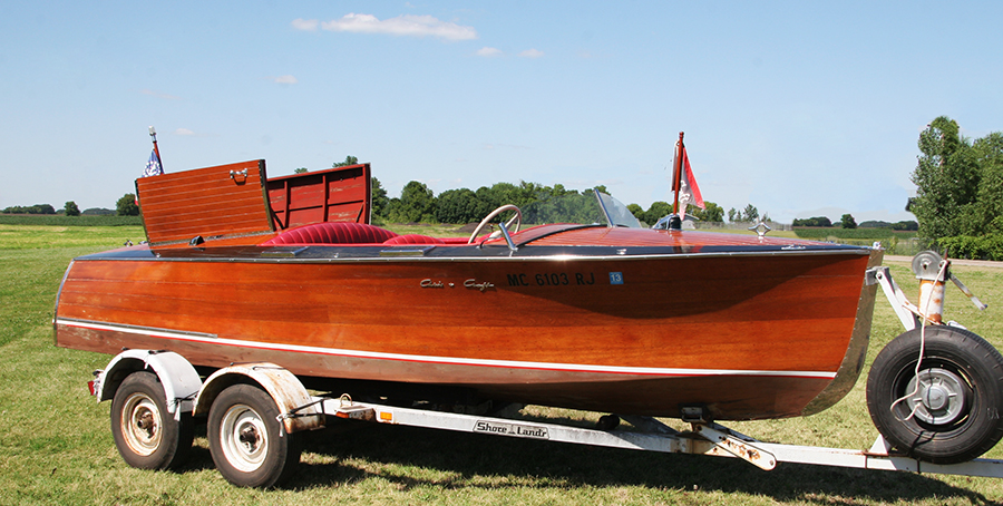 1936 Chris Craft Custom Runabout starboard view with hatches up