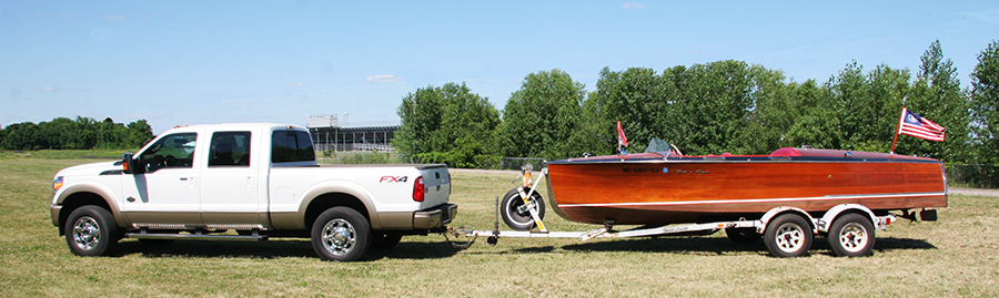 1936 Chris Craft Custom Runabout trailer