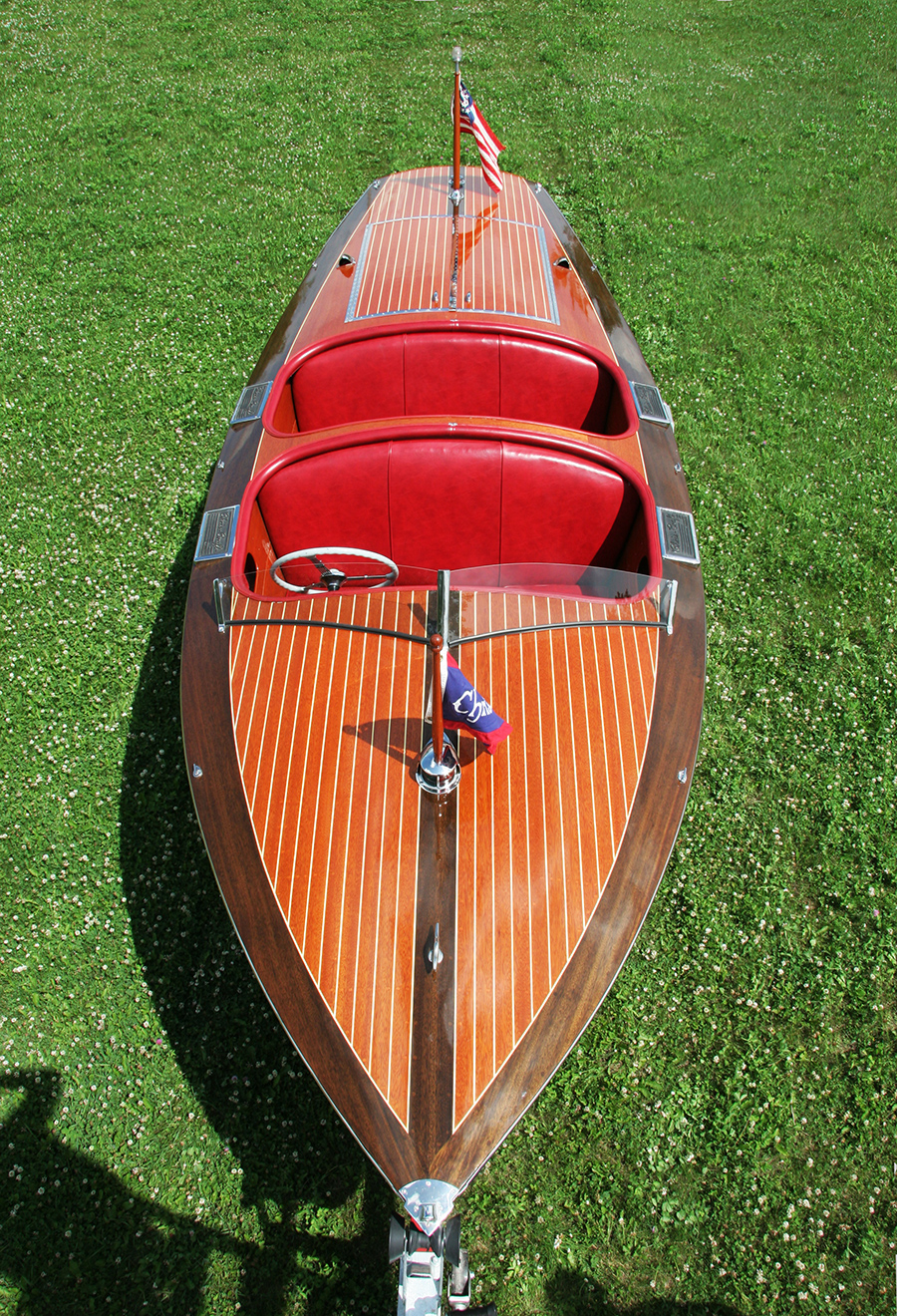 1937 19' Chris Craft Custom Runabout overhead view