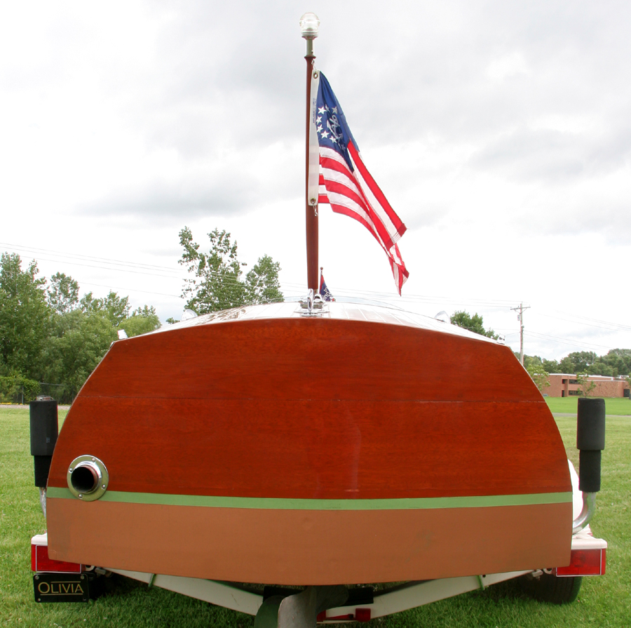 1938 19' Chris Craft Custom Runabout transom