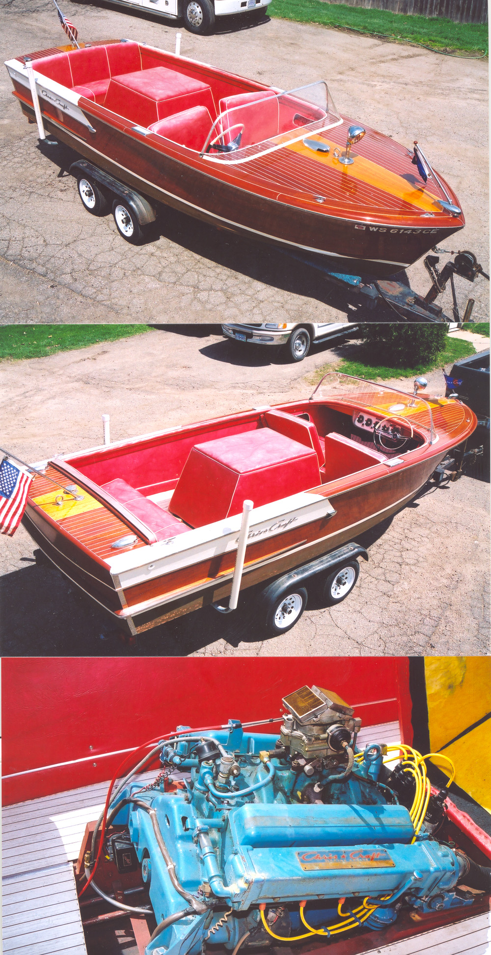 Classic boat with red interior